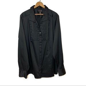 LANE BRYANT Black Tie Button Down Shirt 22/24